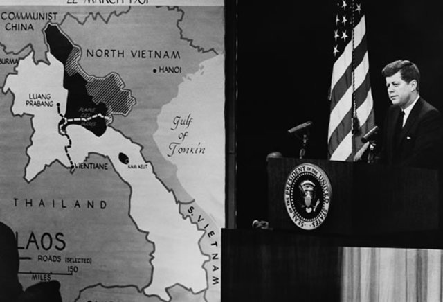 President Kennedy increases aid to S. Vietnam.