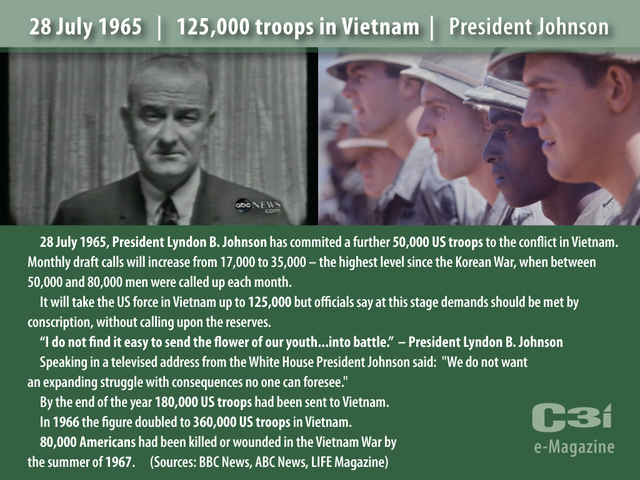 President Johnson increases the draft for troops to Vietnam