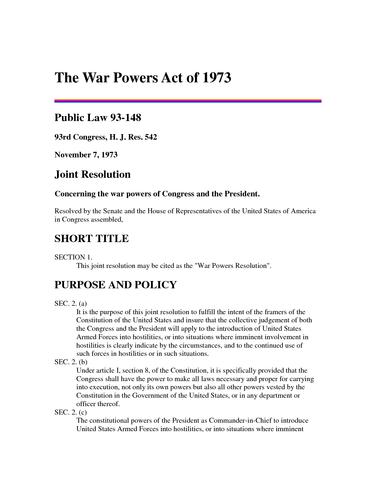 U.S. War Powers Act of 1973
