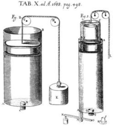 Primera maquina de condensacion. Dionisio Papin