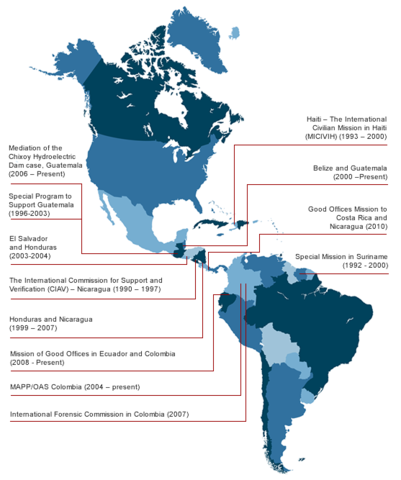 Mapa de las Misiones de Paz de la OEA