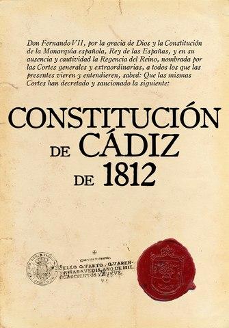 1º Constitución Española. Cortes de Cádiz
