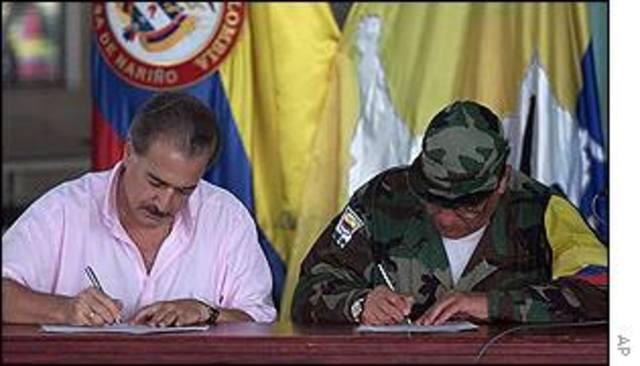 Despeje de san Vicente del Caguán en Caquetá y de la macarena en Mesetas para diálogos de paz (1996-2000)