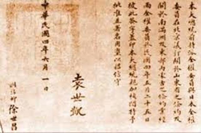 The 'Twenty One Demands' made on China