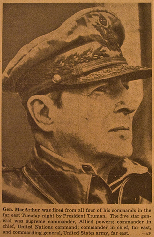 General Macarthur Relieved of Command