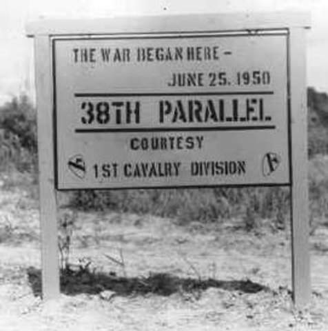 Korea is devided at the 38th parrallel by the US and the USSR
