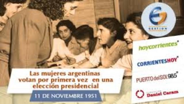 POL. Las mujeres votan por primera vez en la Argentina.