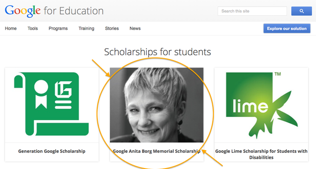 Ads of the first winners of the Google Anita Borg Scholarship