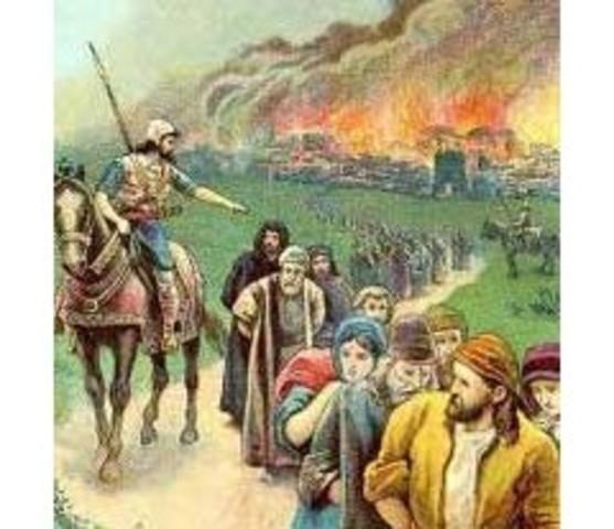 Judá conquistada por Babilonia; Jerusalén y Primer Templo destruidos; la mayoría de los Judios exiliado.