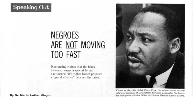 """King writes the article """"Negroes are Not Moving Too Fast"""""""