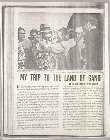 """King goes to India and later writes an article """"My Trip to the Land of Gandhi"""" to highlight the similarities and differences between the Indian and North American nonviolent movements."""
