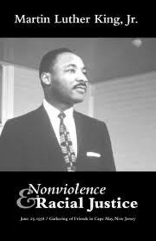 """King writes an article named """"Nonviolence and Racial Justice"""" and later gives it as a speech at the Friends General Conference Meeting."""