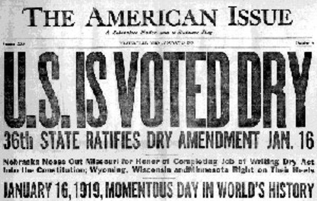 18th Amendment is ratified