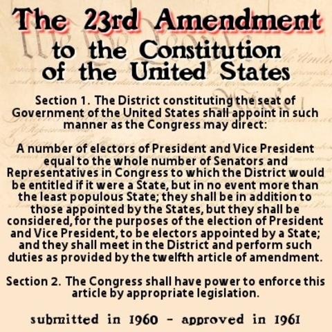 Ratification of 23 Amendment