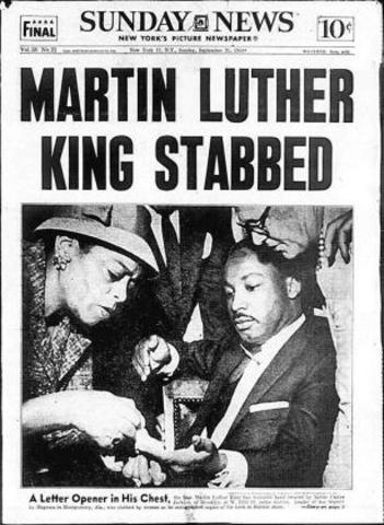 King is stabbed my Izola Curry, a mentally ill African American woman