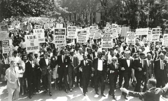 King leads the March on Washington for Jobs and Freedom, one of the largest political rallies in American history.