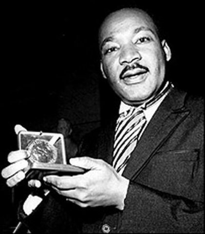 King receives the Nobel Peace Prize for his nonviolent methods to racial violence in America.