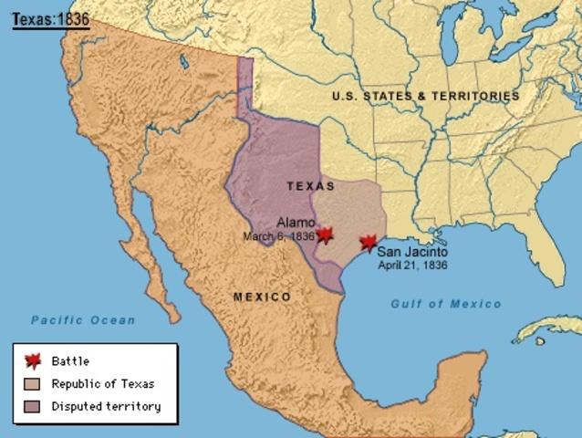 Icorporacón de Texas a E.U.A. Texas se anexa a Estados Unidos provocando la guerra con México.
