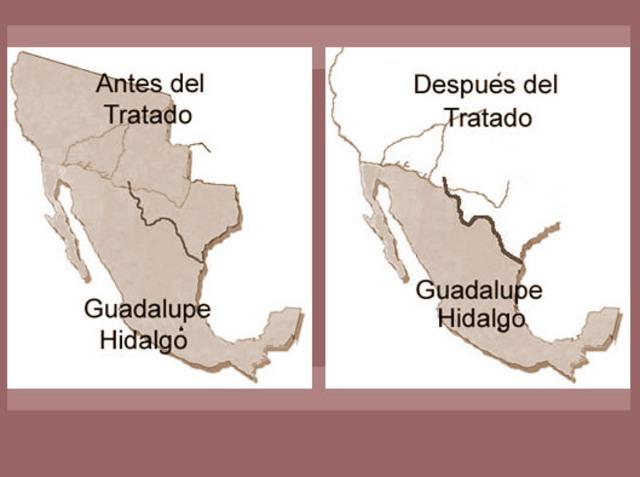 Guerra contra México 1846-1848. E.U.A declara la guerra a México con el objetivo de quedarse con parte de su territorio.