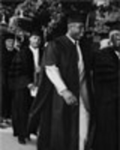 Jackie receives a degree from Howard University