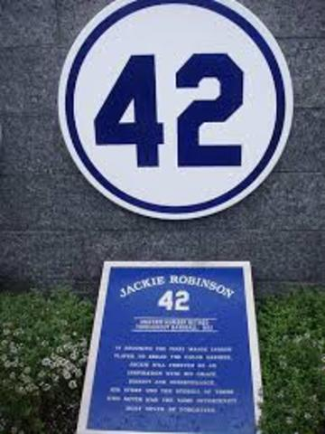 Jackie's number is retired by the Dodgers organization