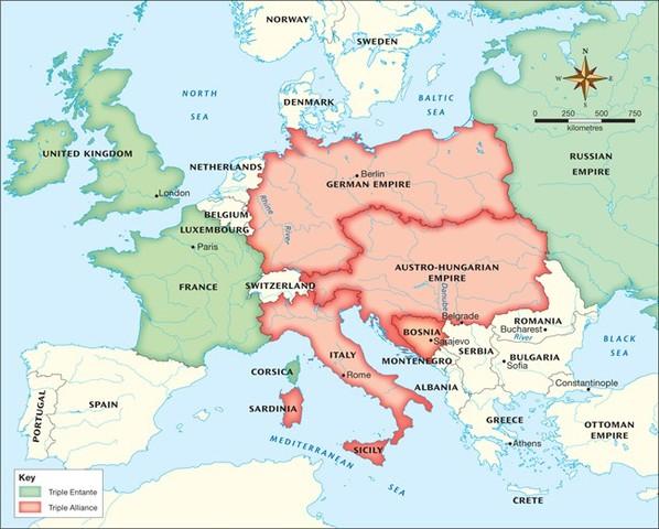 European Alliances (Beginning of 1914)