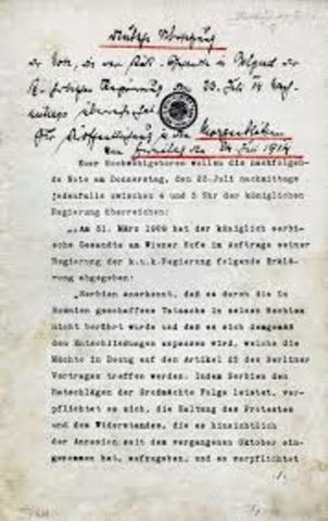 Austria-Hungary presents ultimatum to Serbia
