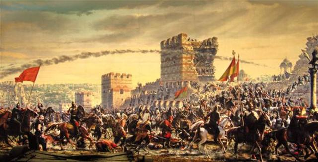 Ottoman Empire conquers Constantinople, end of Byzantine Empire
