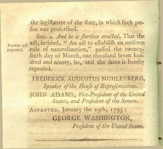 The Naturalization Act of 1798