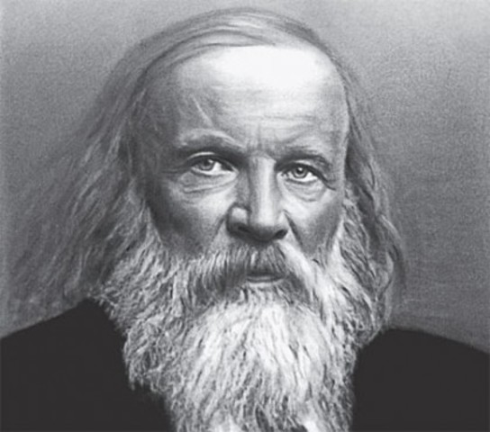 Dmitri Mendeleev works on creating a Periodic table