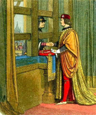 Edward IV is bought off at Picquigny with a bribe