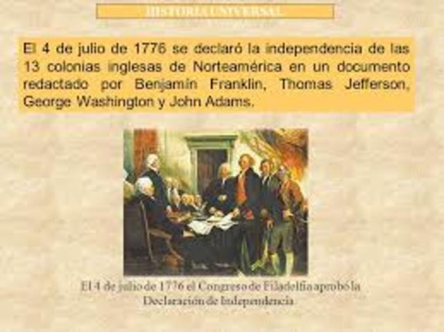 La Declaración de Independencia ( 4 de julio de 1776)