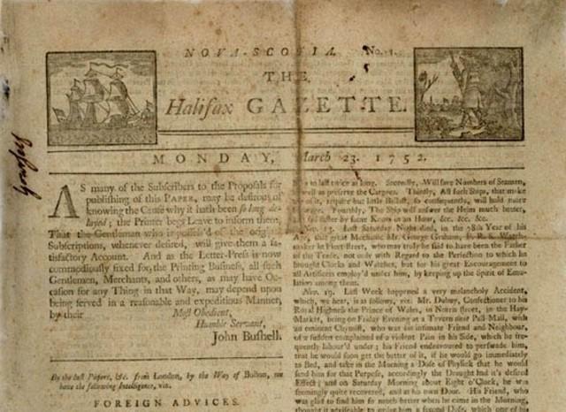 Canada's first newspaper, the weekly Halifax Gazette