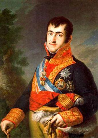 Retoma el gohierno del Reino Fernando VII.