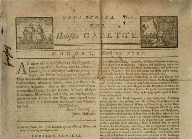 Canada's first newspaper, the Halifax Gazette - Notable Event