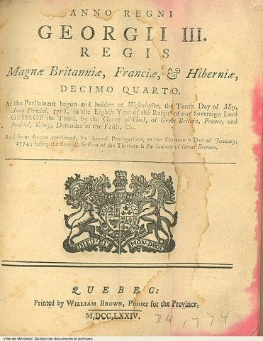 {Documents Acts & Treaties} - Quebec Act is passed by British Parliament