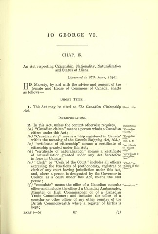 The Canadian Citizenship Act