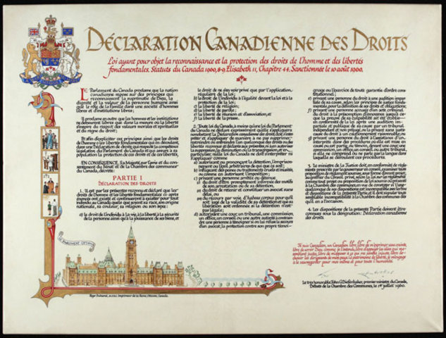 The Bill of Rights, specifying the rights of Canadians