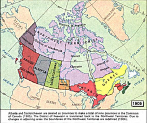 Saskatchewan and Alberta join Confederation - Provincial Notes