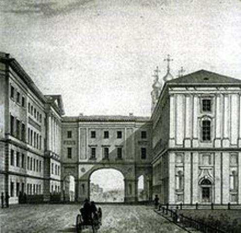 Пушкин зачислен в Царскосельский лицей.