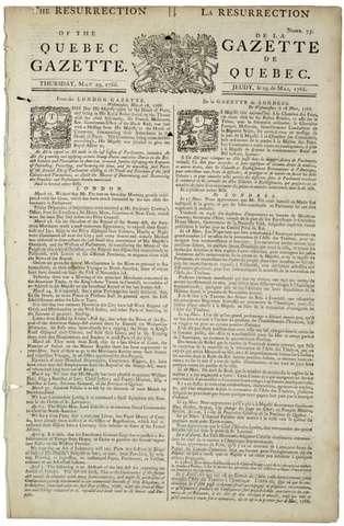 Quebec Gazette Newspaper Established