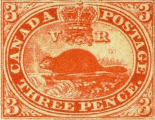 First Postage Stamp in Canada - Threepenny Beaver