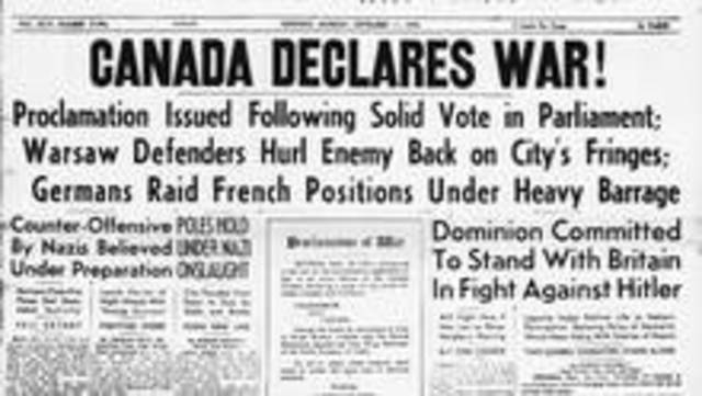 Canada declares war on Germany after approval by the Canadian parliament.
