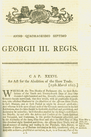 Slave trade aboloshed in all British colonies