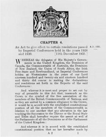 Statute of Westminster Passed