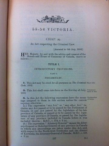 {Documents Acts & Treaties} - Criminal Code