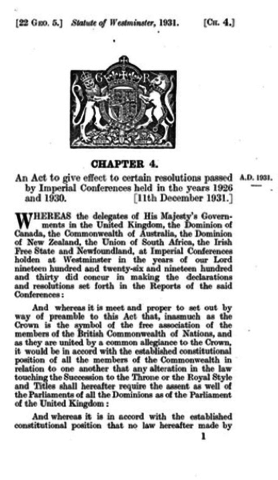 {Documents Acts & Treaties} - Statute of Westminister