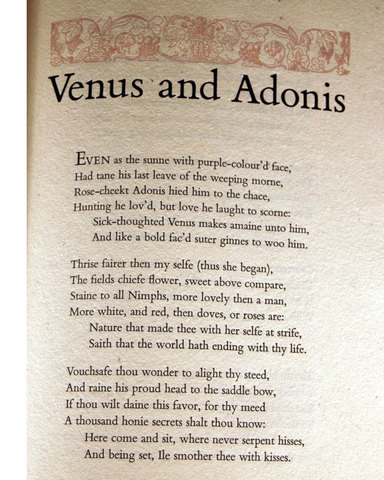 Venus and Adonis is Written
