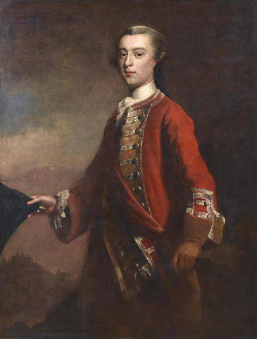 le general Wolfe se tient devant son armee sur les plaines d'Abraham.