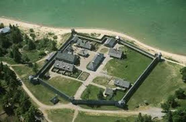 En 1715 le fort Michillimackinac était construit juste en dessous du lien entre Lac Huron et Lac Michigan.
